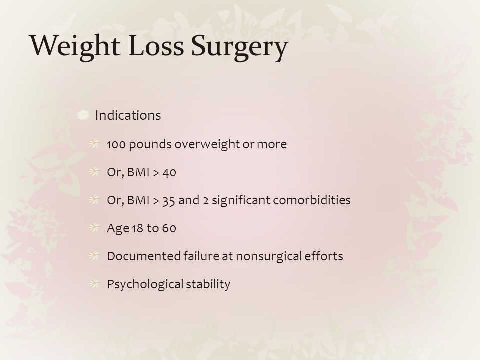 Weight Loss Surgery Indications 100 pounds overweight or more