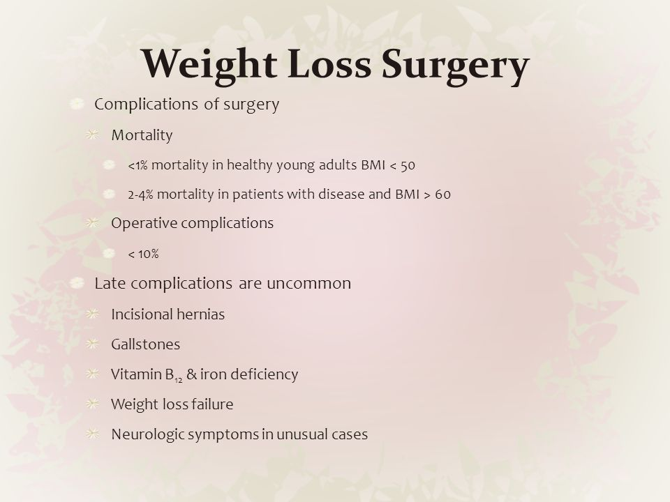 Weight Loss Surgery Complications of surgery