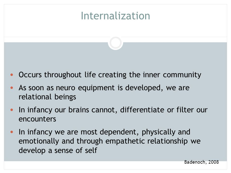 Internalization Occurs throughout life creating the inner community