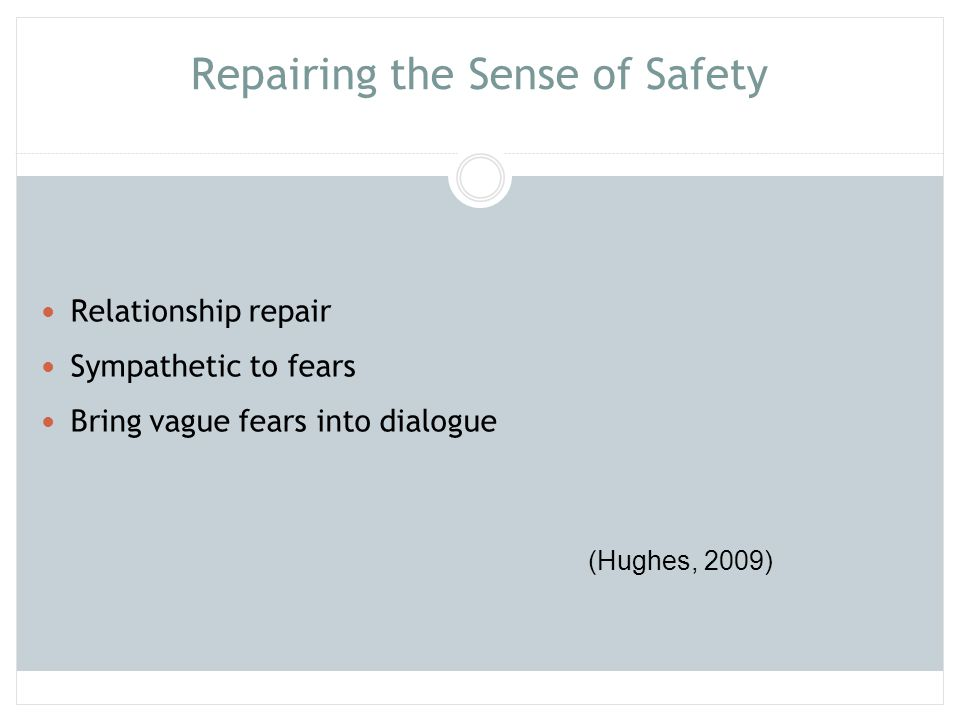 Repairing the Sense of Safety