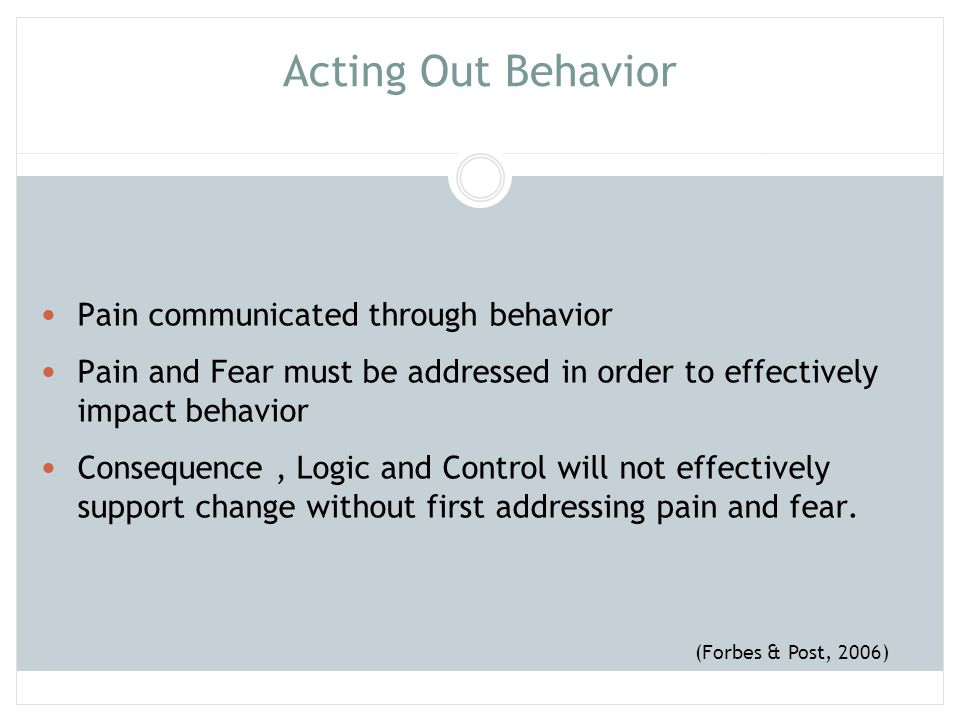 Acting Out Behavior Pain communicated through behavior