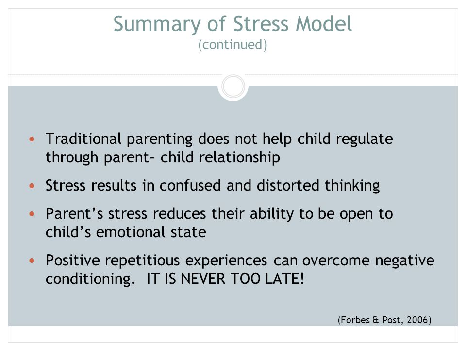 Summary of Stress Model (continued)