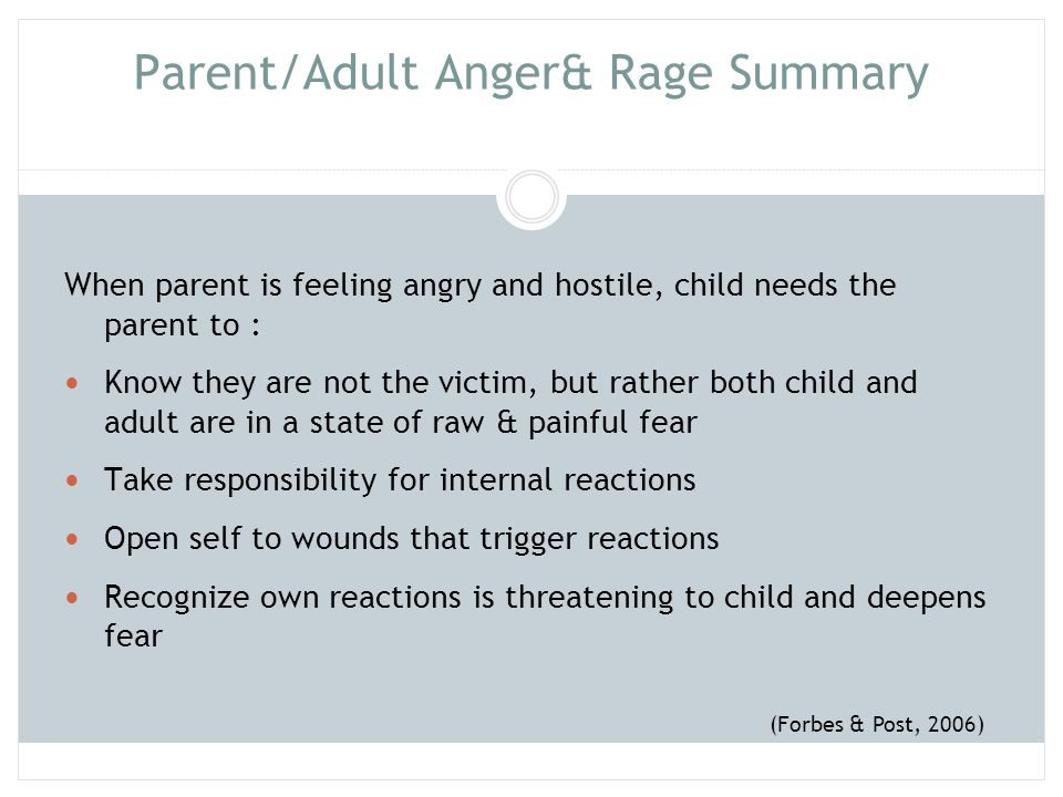 Parent/Adult Anger& Rage Summary