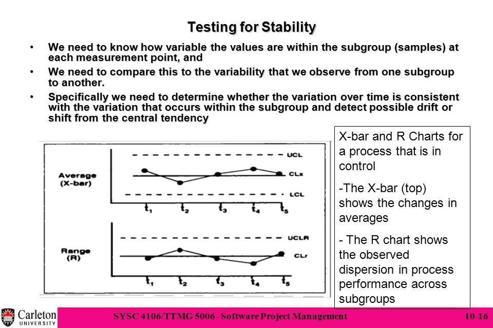 Testing for Stability We need to know how variable the values are within the subgroup (samples) at each measurement point, and.