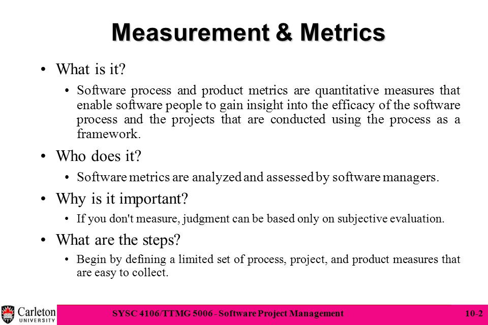 Measurement & Metrics What is it Who does it Why is it important