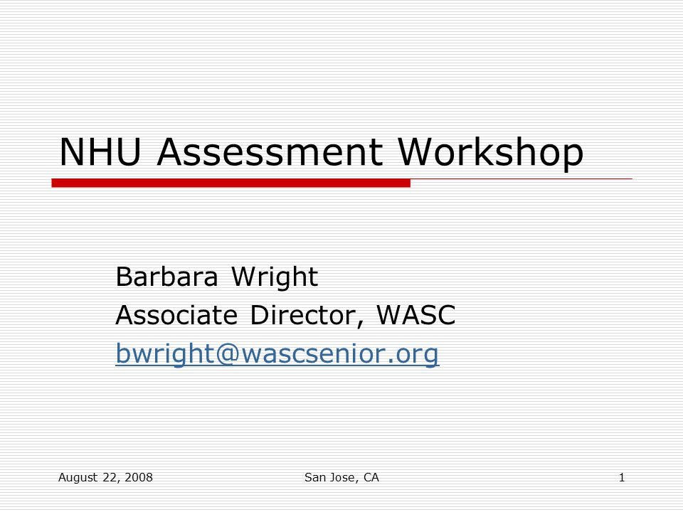 NHU Assessment Workshop