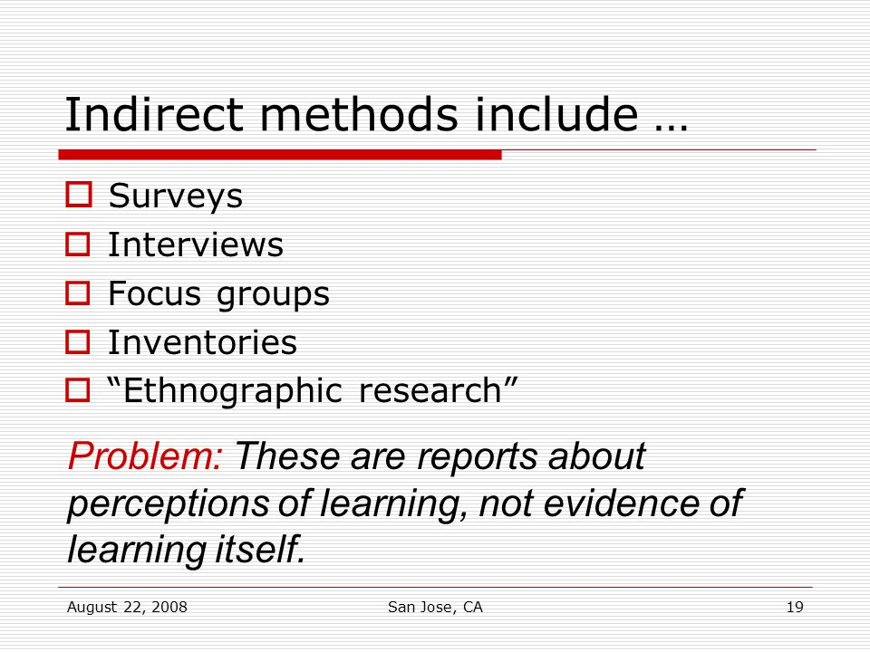 Indirect methods include …