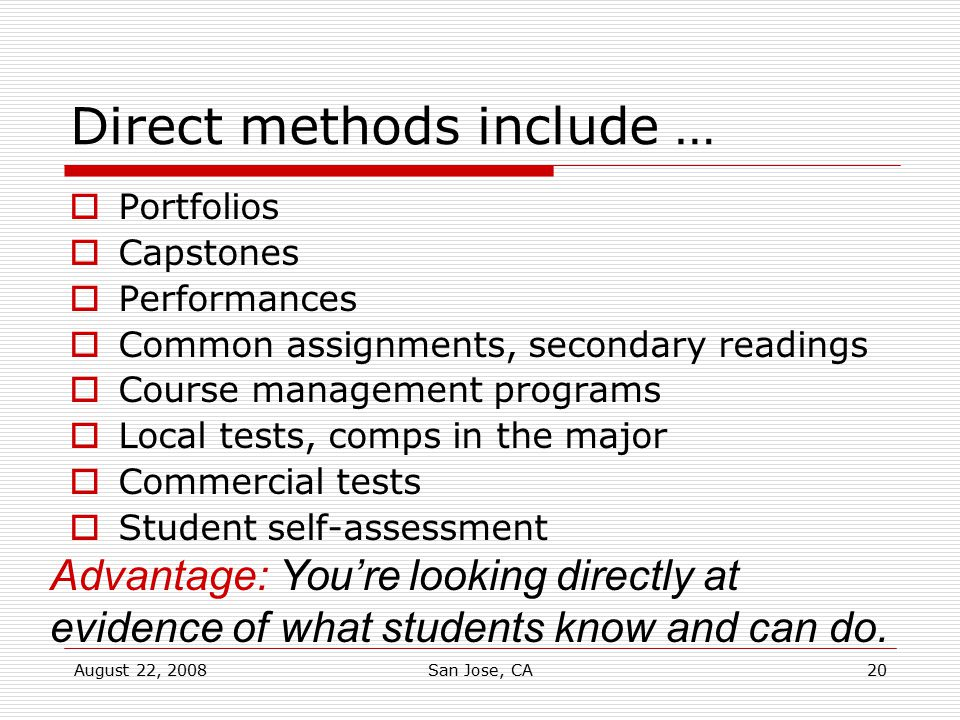 Direct methods include …