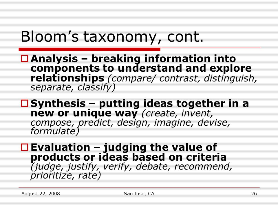 Bloom's taxonomy, cont.