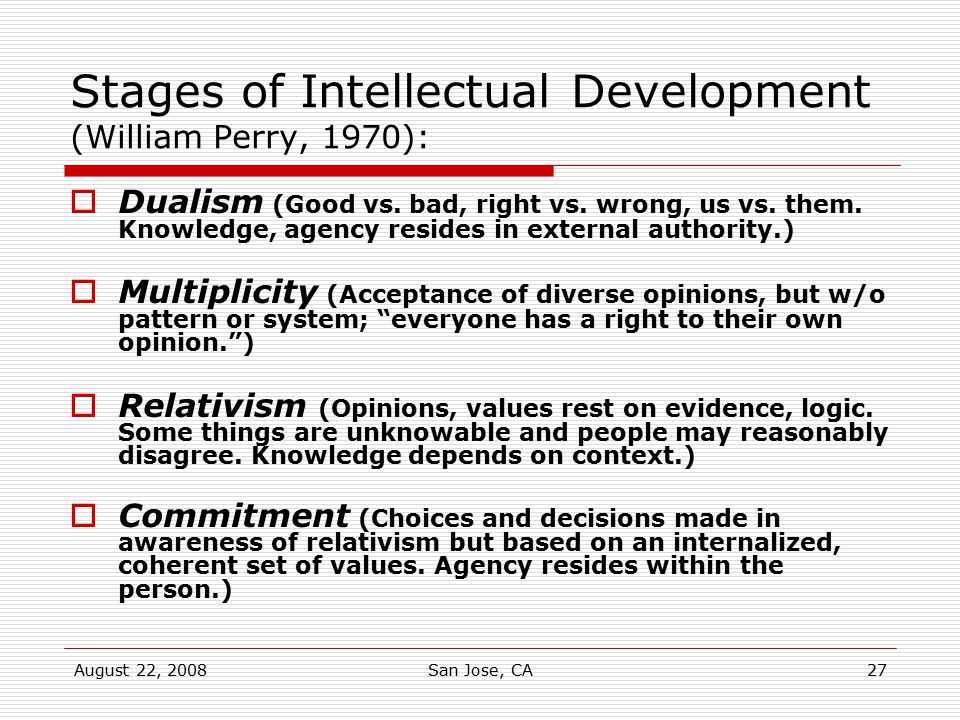 Stages of Intellectual Development (William Perry, 1970):