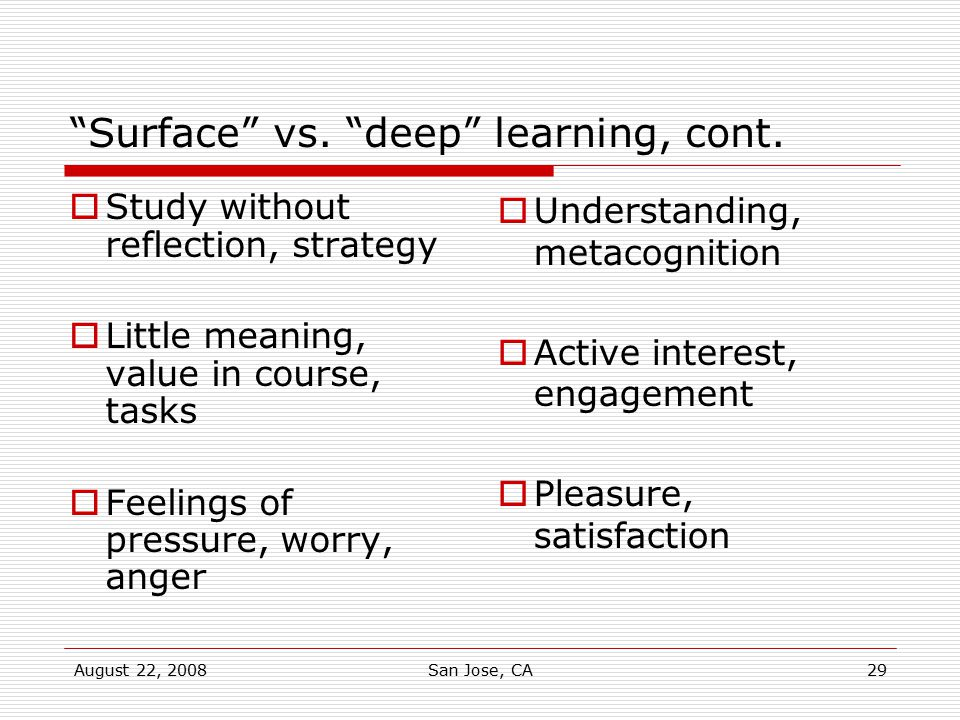 Surface vs. deep learning, cont.