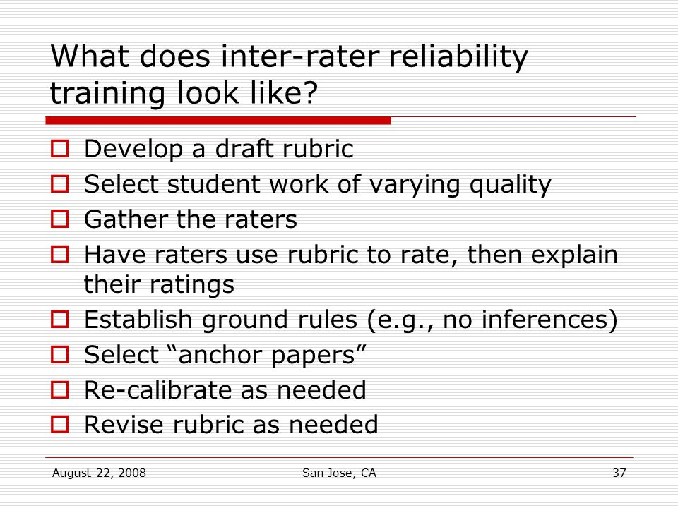 What does inter-rater reliability training look like