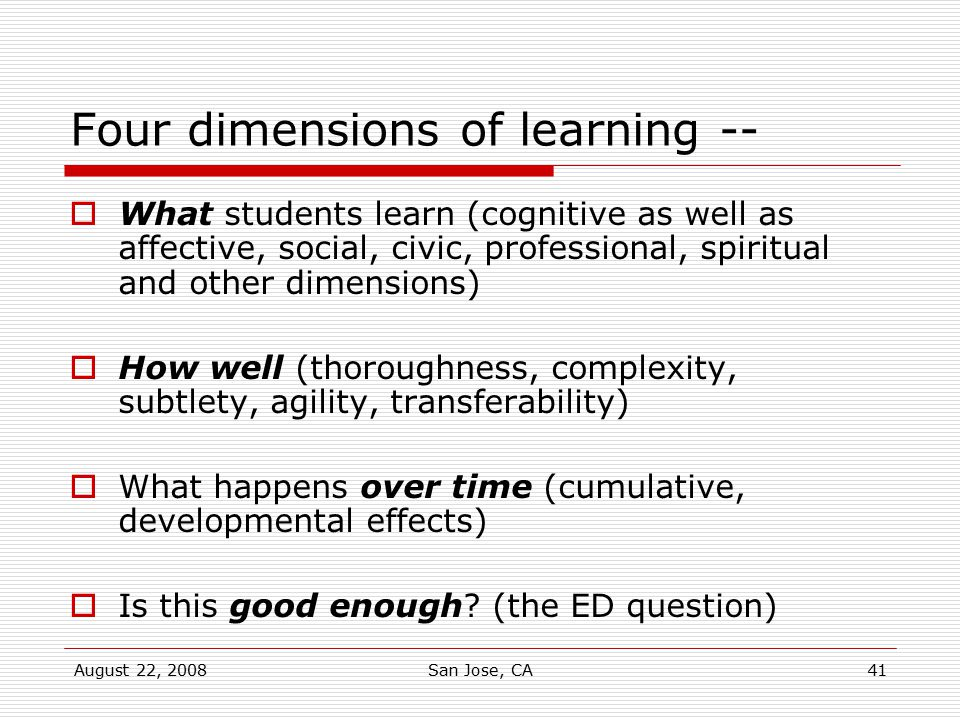 Four dimensions of learning --
