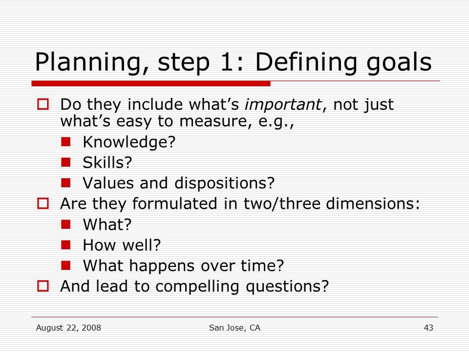 Planning, step 1: Defining goals