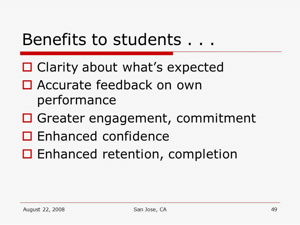 Benefits to students . . . Clarity about what's expected
