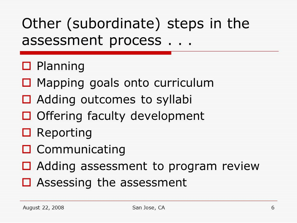 Other (subordinate) steps in the assessment process . . .