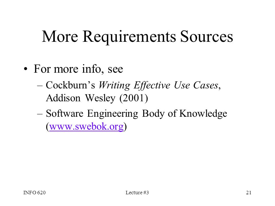 More Requirements Sources