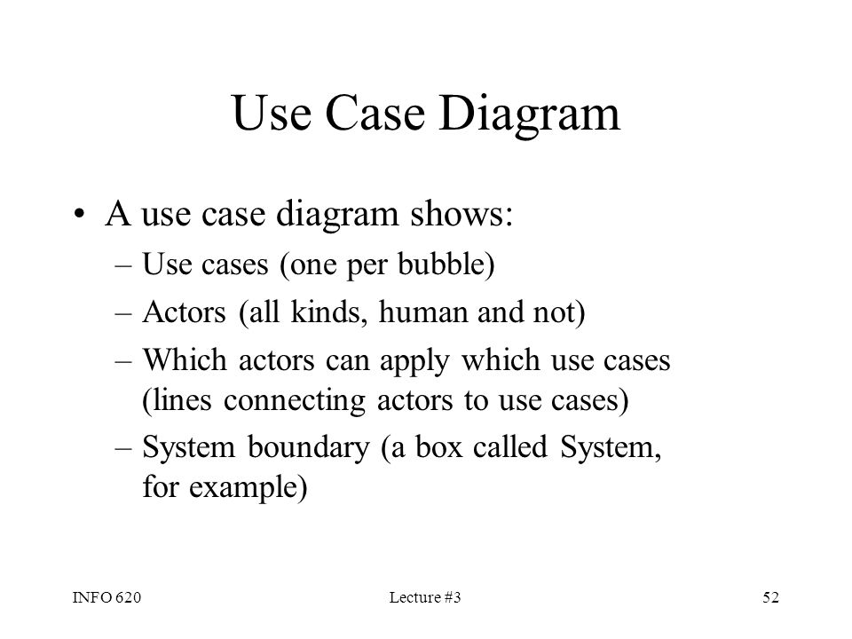 Use Case Diagram A use case diagram shows: Use cases (one per bubble)