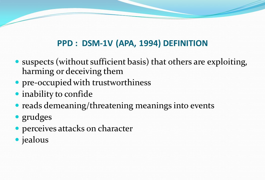 PPD : DSM-1V (APA, 1994) DEFINITION