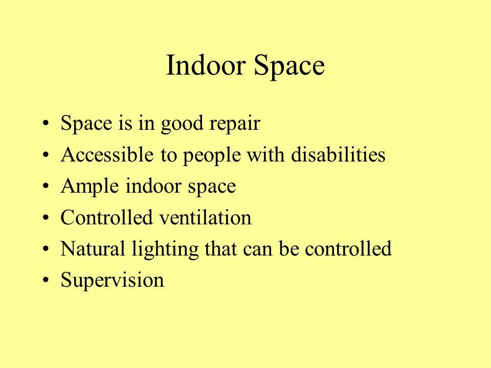 Indoor Space Space is in good repair