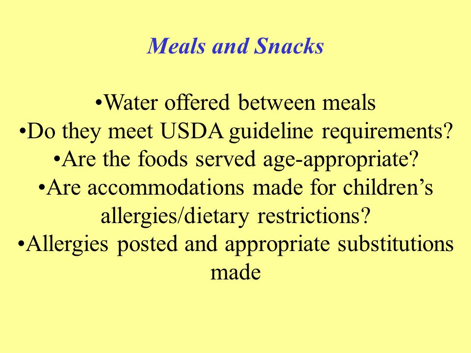 Water offered between meals Do they meet USDA guideline requirements