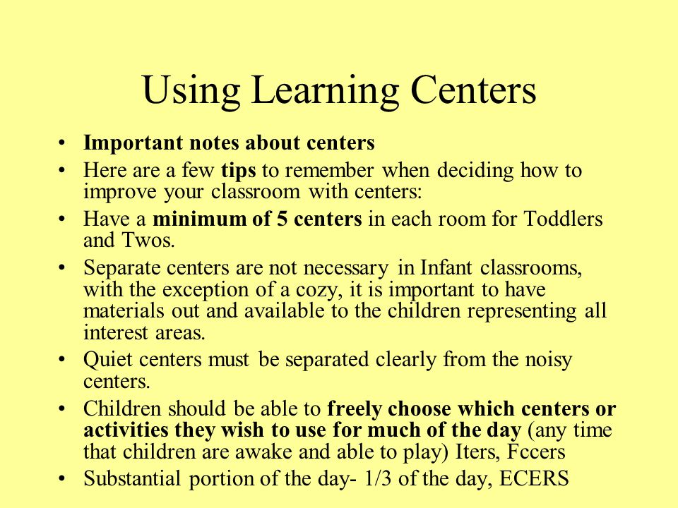 Using Learning Centers