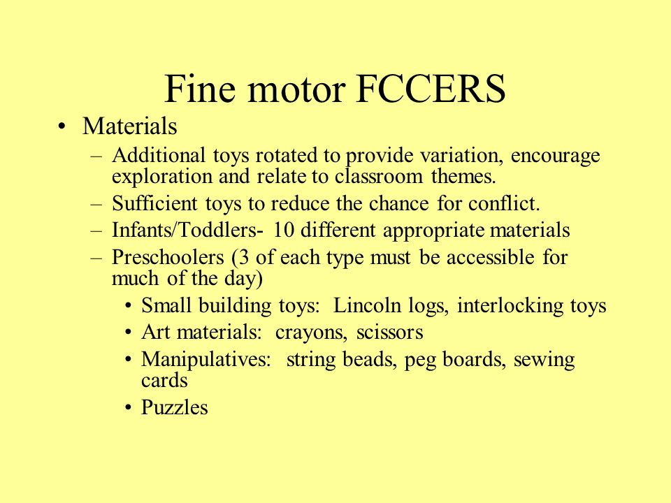Fine motor FCCERS Materials