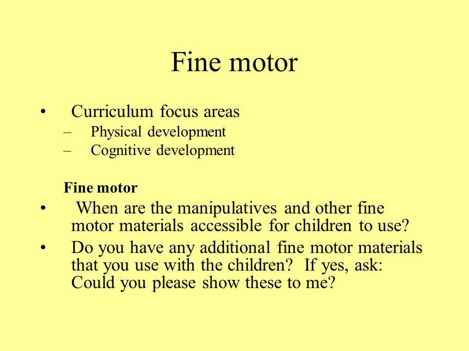 Fine motor Curriculum focus areas