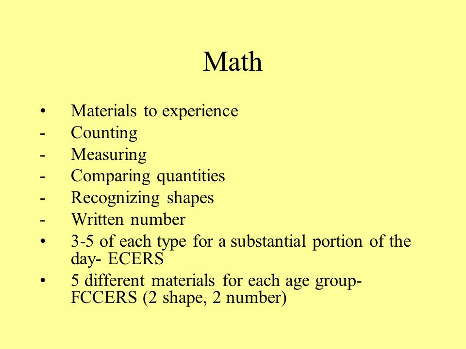 Math Materials to experience Counting Measuring Comparing quantities