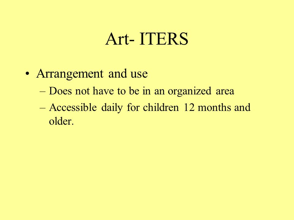 Art- ITERS Arrangement and use