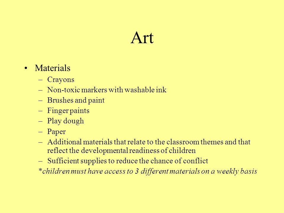 Art Materials Crayons Non-toxic markers with washable ink