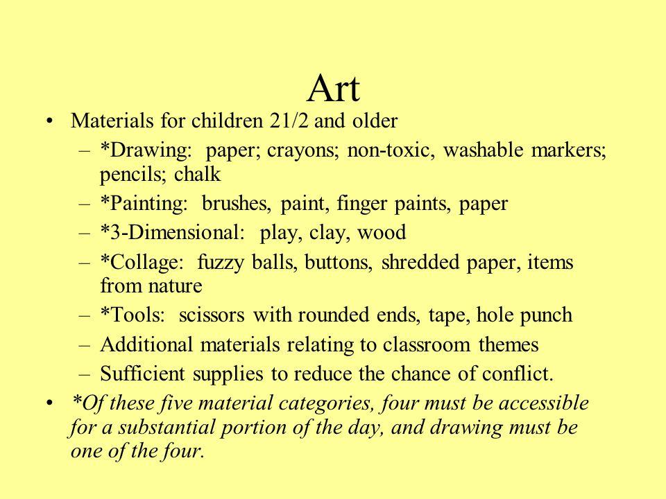 Art Materials for children 21/2 and older