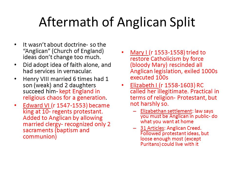 Aftermath of Anglican Split