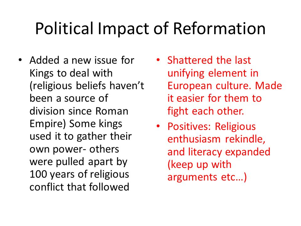 Political Impact of Reformation
