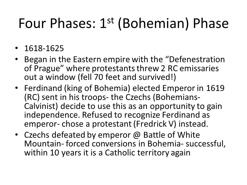 Four Phases: 1st (Bohemian) Phase