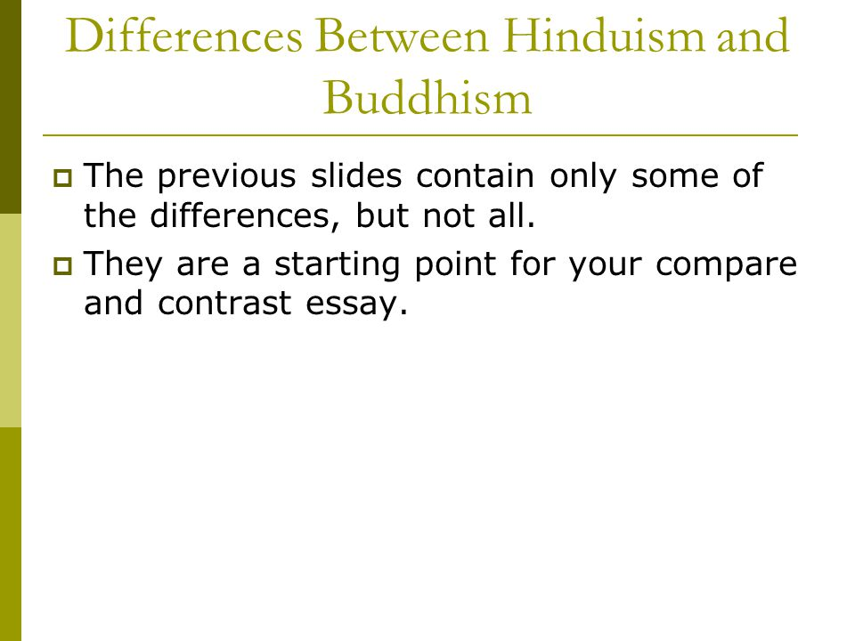 hinduism vs buddhism compare and contrast