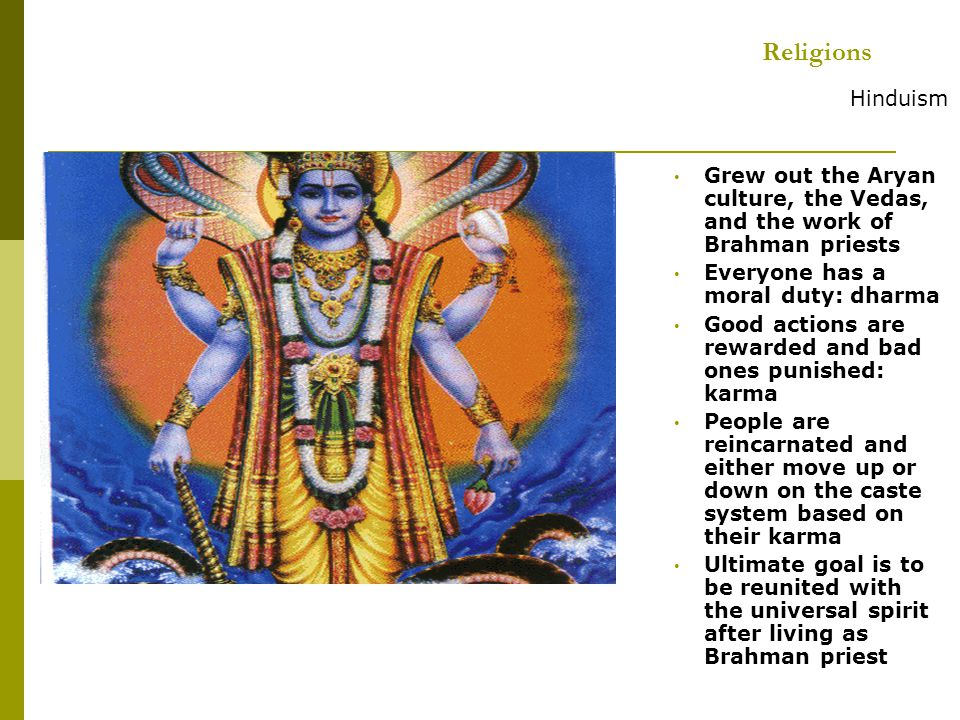 Religions Hinduism. Grew out the Aryan culture, the Vedas, and the work of Brahman priests. Everyone has a moral duty: dharma.