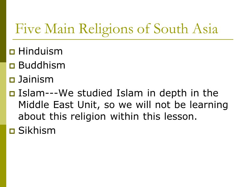 Five Main Religions of South Asia