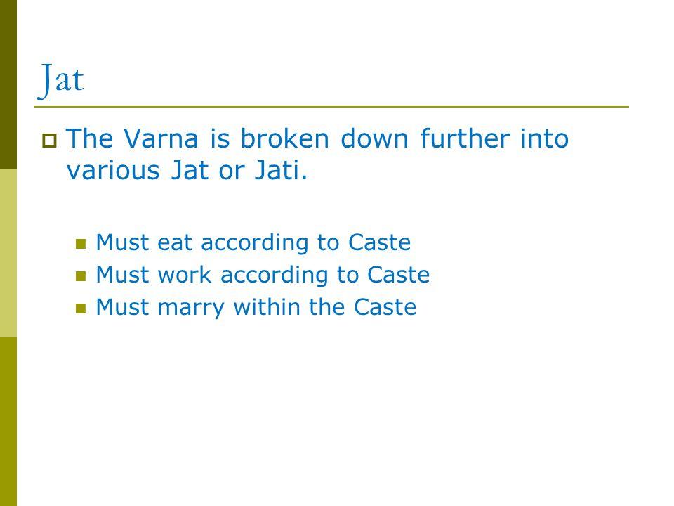 Jat The Varna is broken down further into various Jat or Jati.
