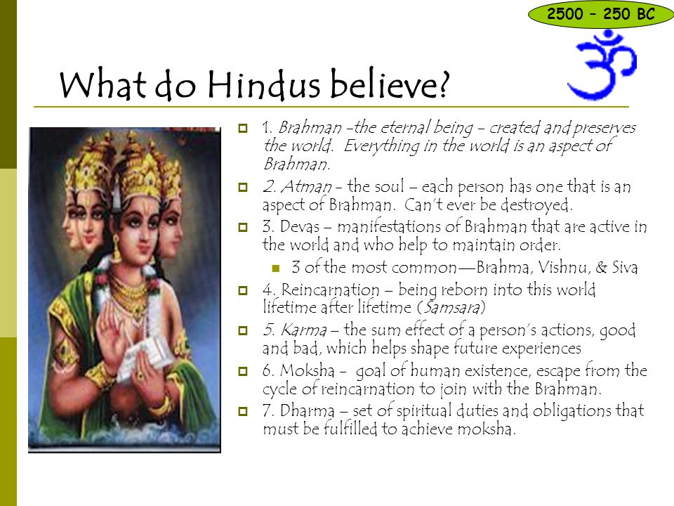 2500 – 250 BC What do Hindus believe