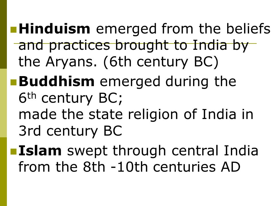 Islam swept through central India from the 8th -10th centuries AD