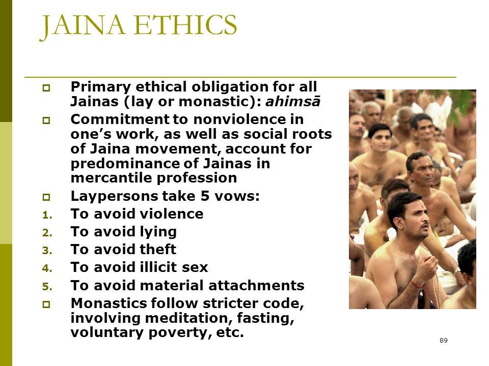 JAINA ETHICS Primary ethical obligation for all Jainas (lay or monastic): ahimsā.