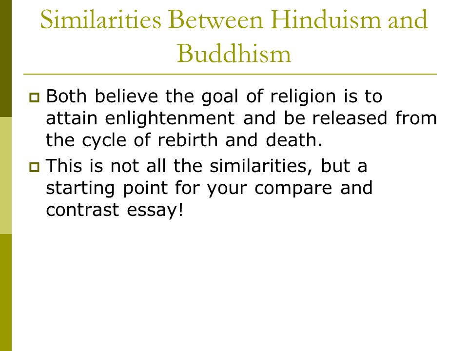compare and contrast buddhism and hinduism essay