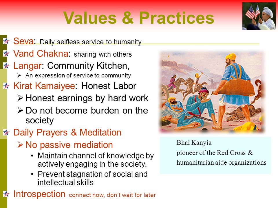Values & Practices Seva: Daily selfless service to humanity