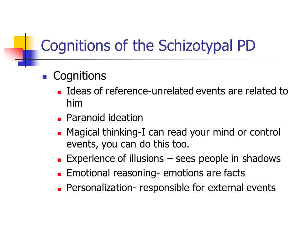 Cognitions of the Schizotypal PD