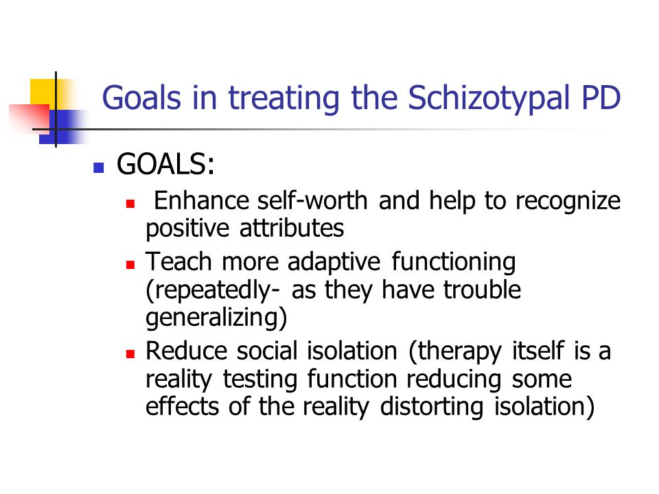 Goals in treating the Schizotypal PD