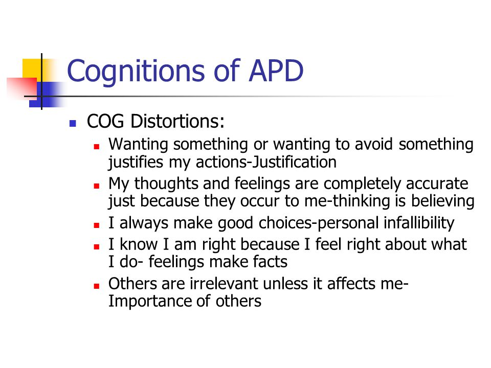 Cognitions of APD COG Distortions:
