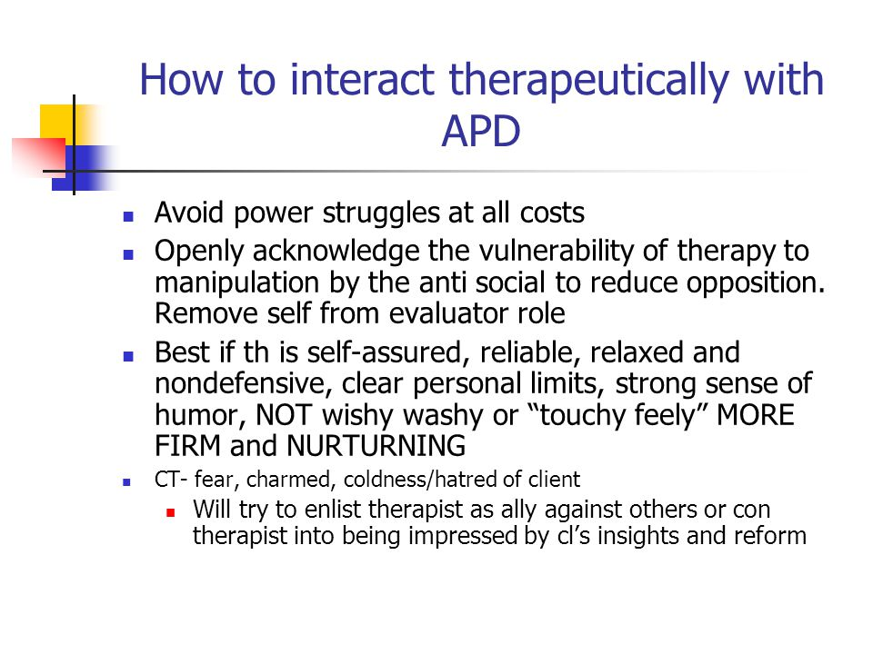 How to interact therapeutically with APD