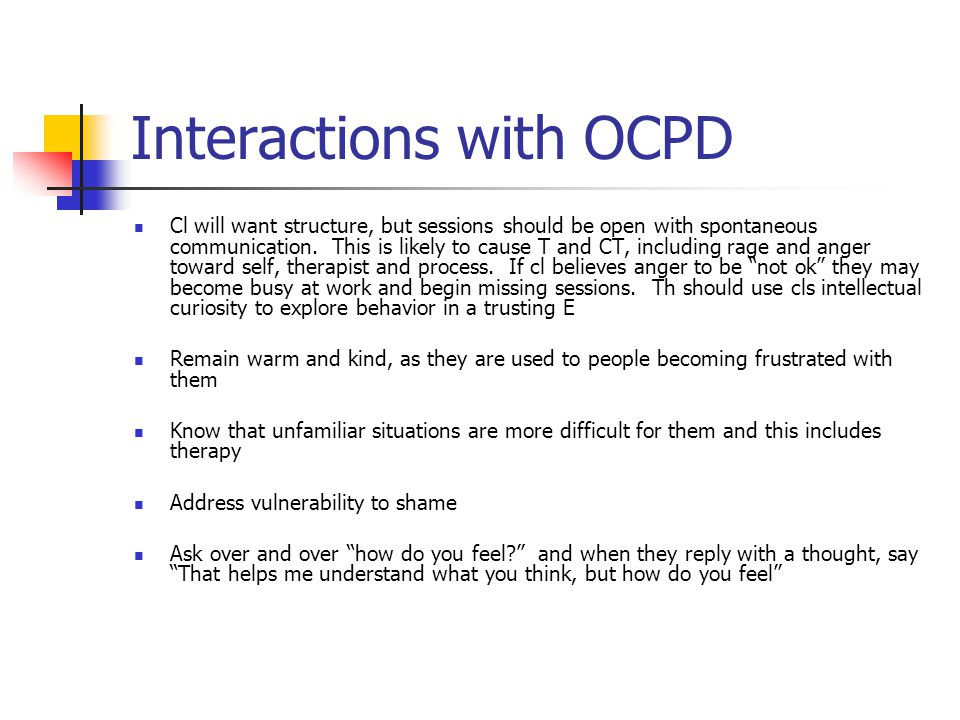 Interactions with OCPD