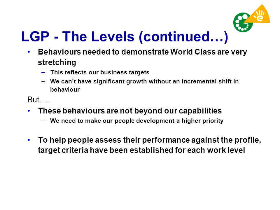 LGP - The Levels (continued…)